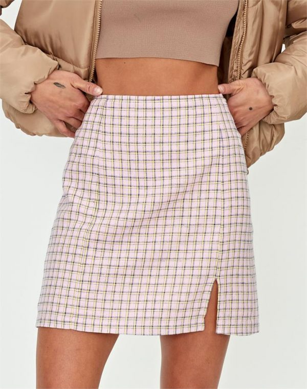 Linen Blend Tartan Side Split Skirt