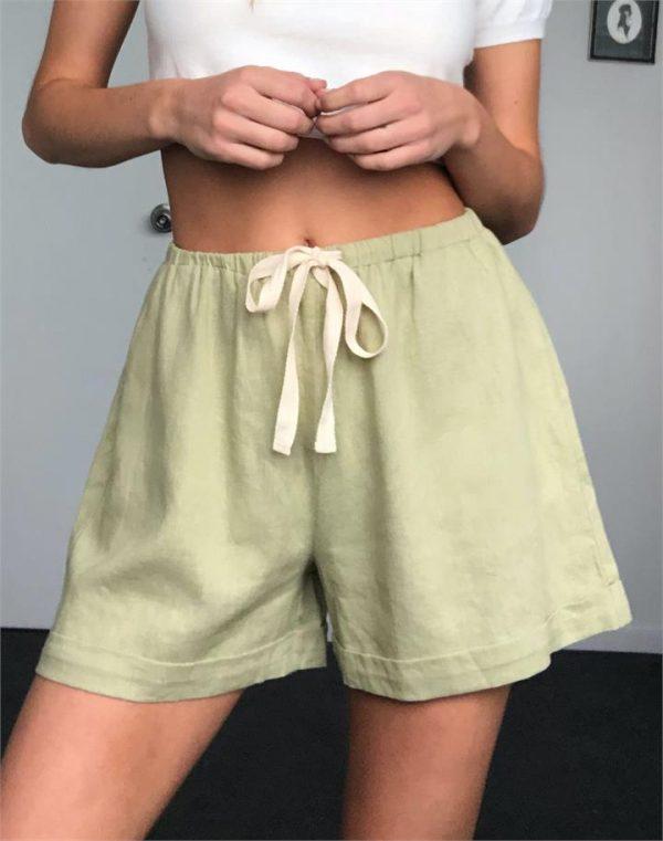 Linen Blend Tie Front Short
