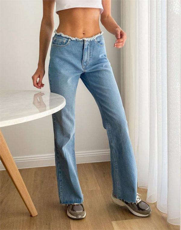 Low Rise Raw Hem Jean