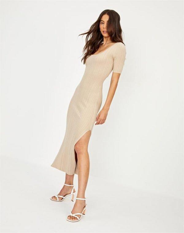 Open Back Rib Knit Midi Dress