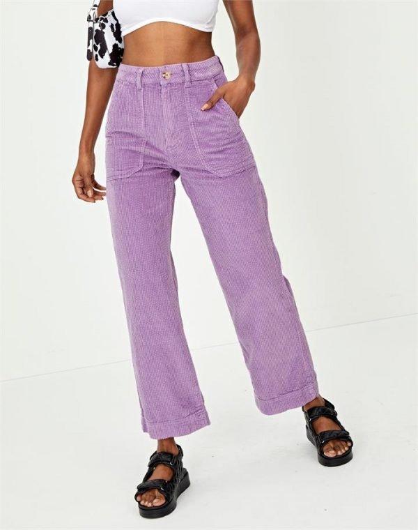 Organic Cord Cropped Wide Leg Pant