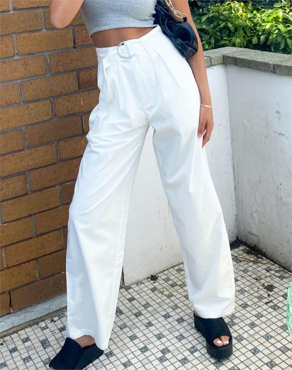 Pintuck Belted Wide Leg Pant