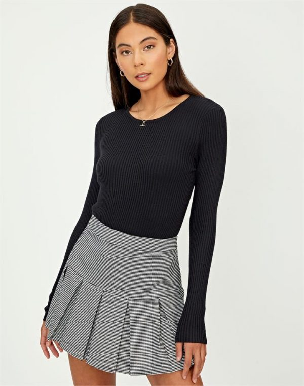 Rib Knit Crewneck Longsleeve Top