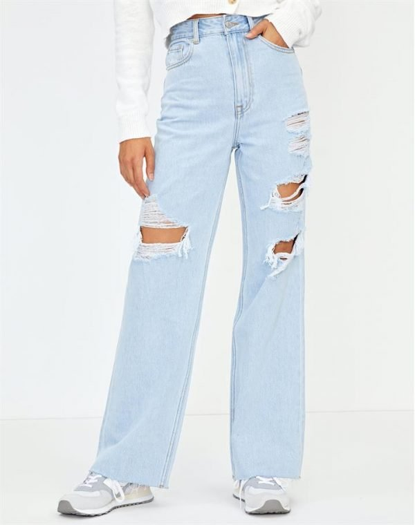 Ripped Relaxed Straight Leg Jean