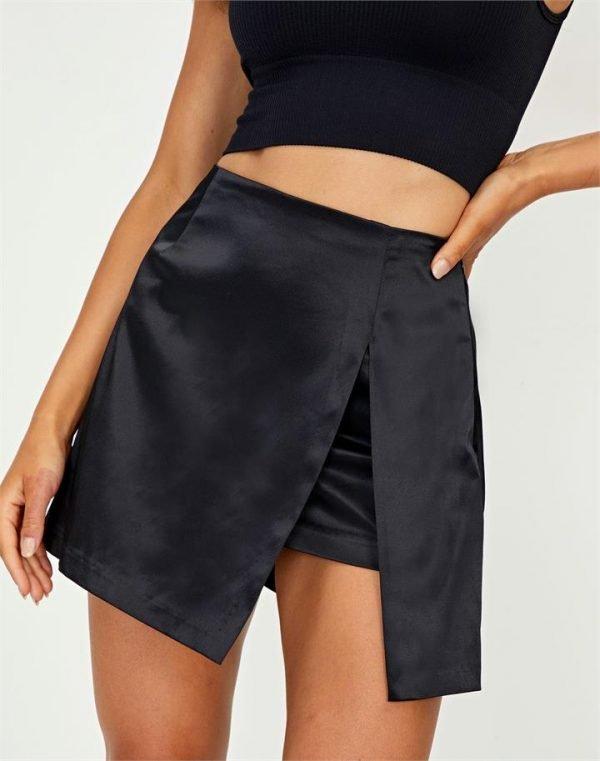 Satin Split Front Mini Skirt
