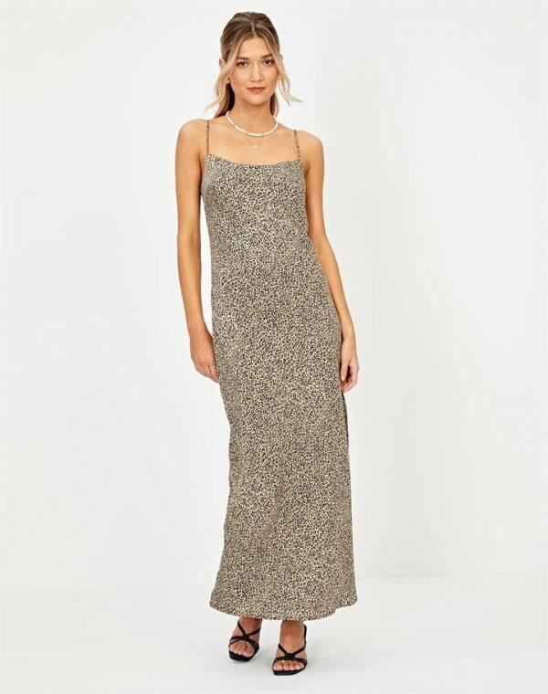Satin Split Midi Dress
