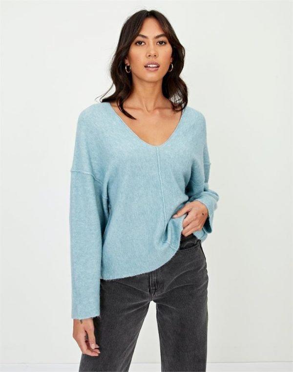 Seam Detail V Knit Sweater