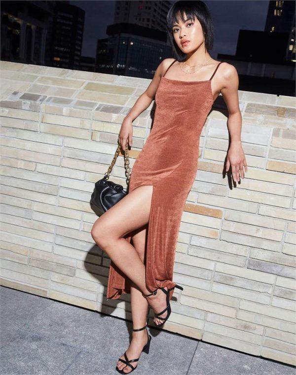 Sheer Shimmer Side Split Midi Dress