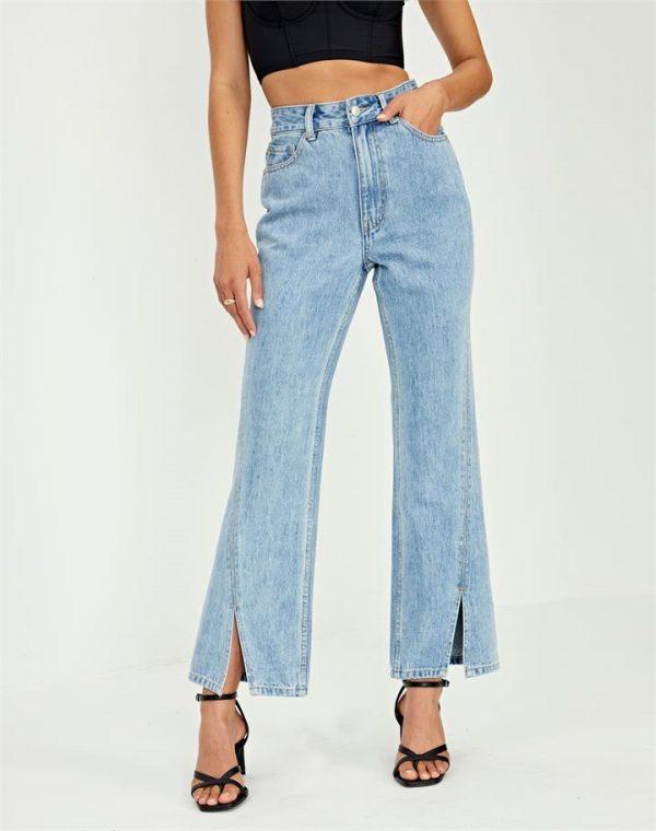 Split Front Flared Denim Jeans