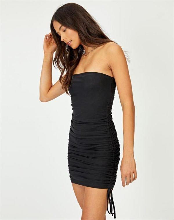 Strapless Mesh Mini Dress