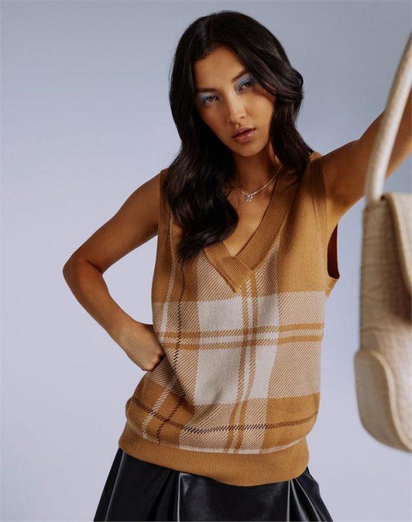 Tartan Knit Longline Vest