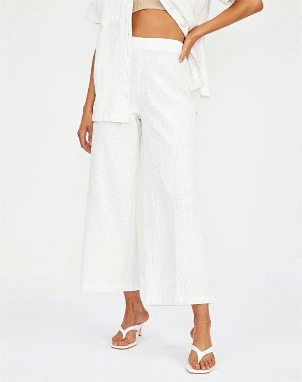 Textured Cotton Wide Leg Pant