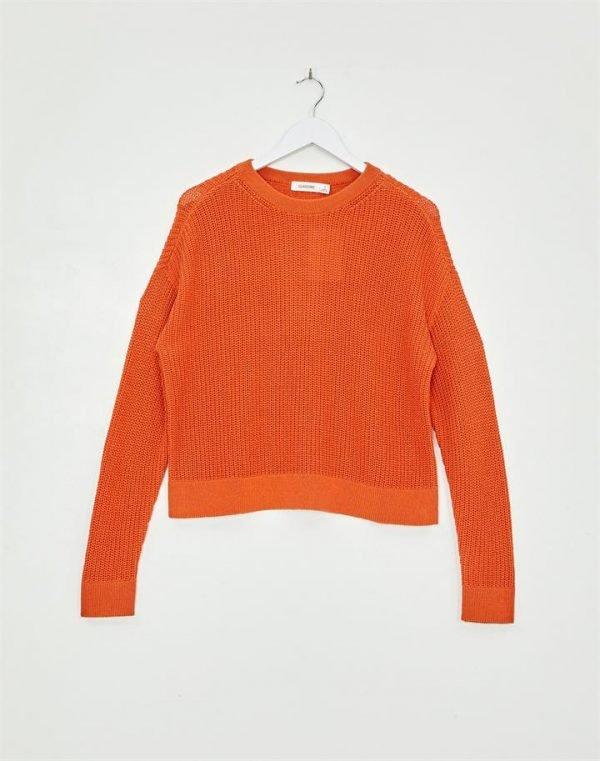 Waffle Knit Crew Neck Sweater