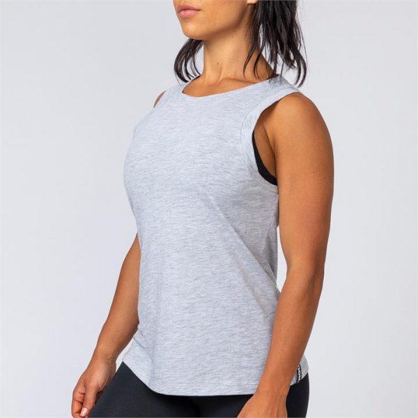 Womens Muscle Tank - Grey Marl - S