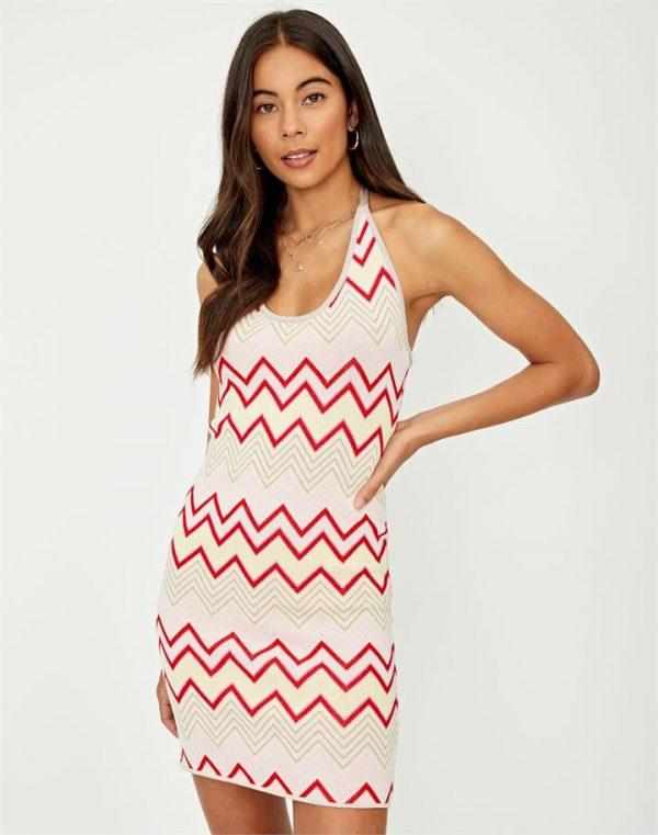 Zig-Zag Halter Knit Mini Dress
